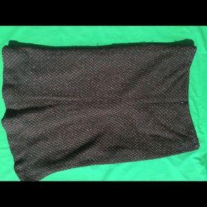 Black Brown White Tweed Pencil Skirt